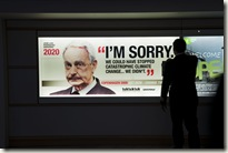 30 Nov 2009, Adverts with heads of state placed all over Copenhagen International Airport by the global coalition, tcktcktck.org and Greenpeace calling on world leaders to secure a fair, ambitious and binding deal at the Copenhagen Climate Summit. This ad depicts Spanish Prime Minister Jose Luis Rodriguez Zapatero. © Greenpeace/Christian Åslund