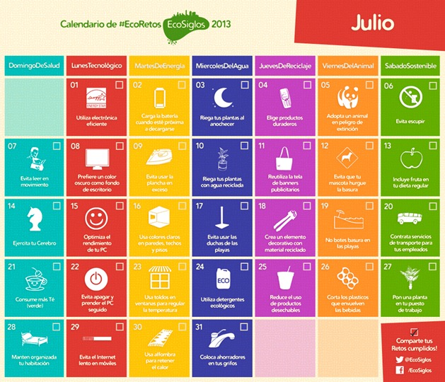Calendario Julio Calendario 2013 con 365 ideas sostenibles
