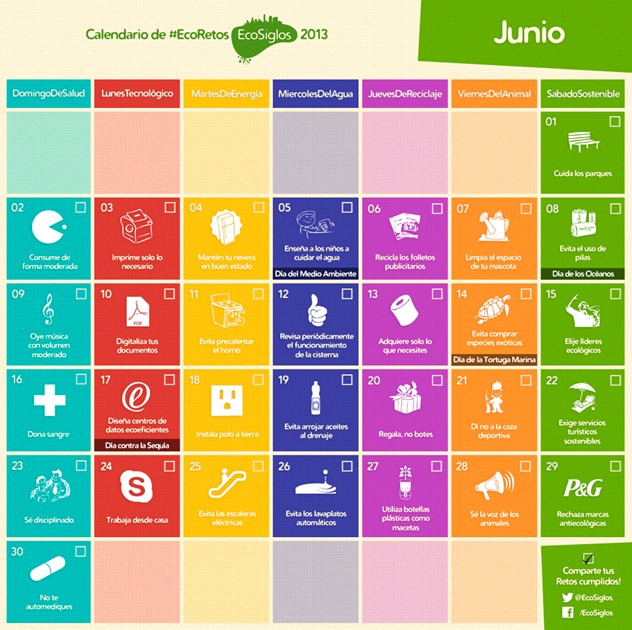 Calendario Junio Calendario 2013 con 365 ideas sostenibles
