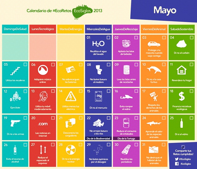 Calendario Mayo Calendario 2013 con 365 ideas sostenibles