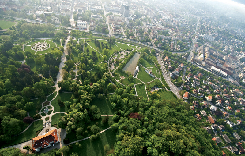 Aerial view - Overlooking park Tivoli and the city, Tivoli Mansion